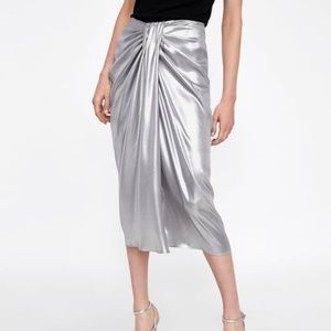 Zara Woman Silver Metallic-effect draped skirt